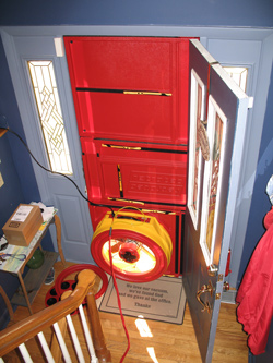 Blower door test for Hudson homes